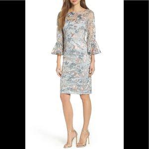 Eliza J Blue Floral Embroidered Sheath Dress 6
